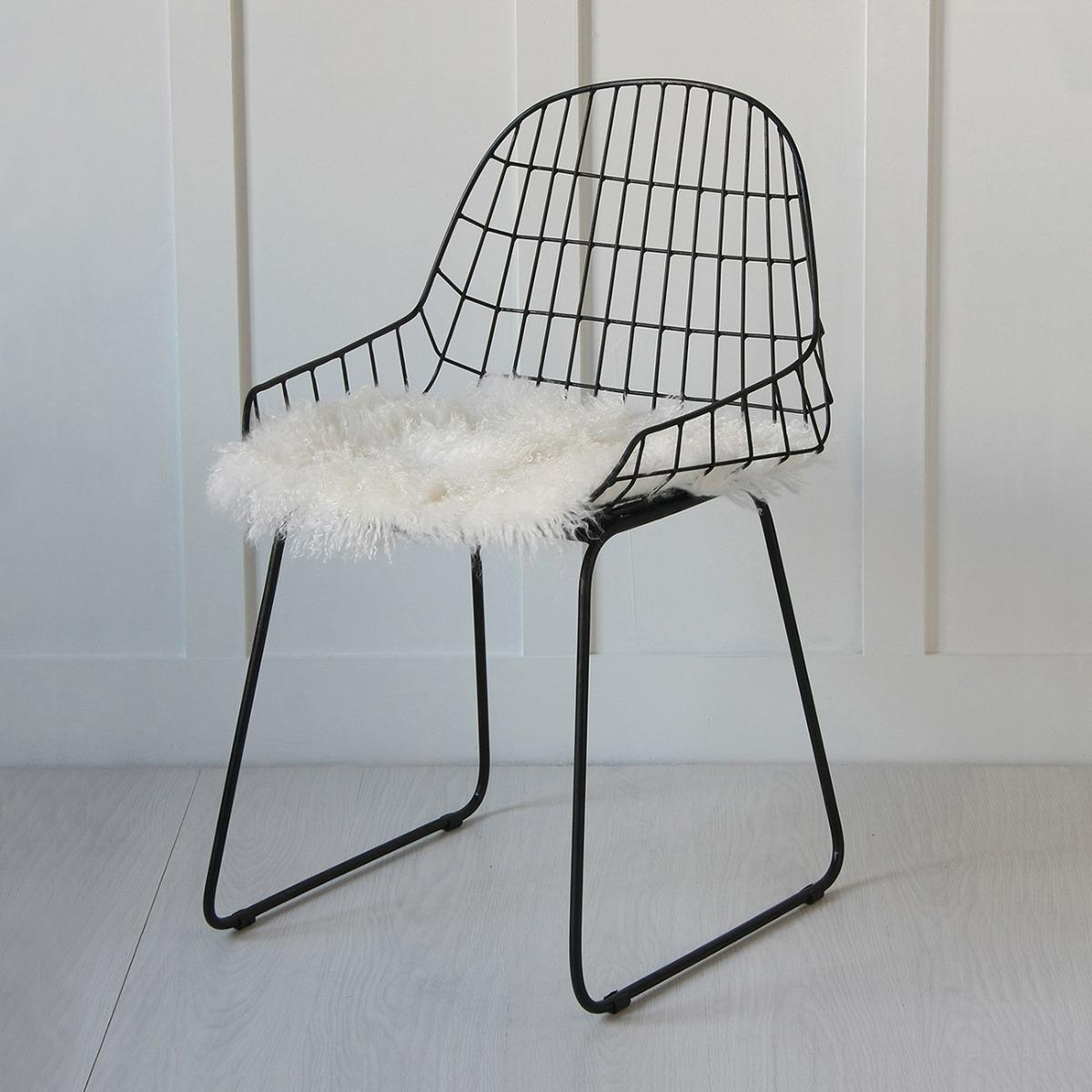 Black Wire Arm Chair, Mongolian Fur Seat Pad