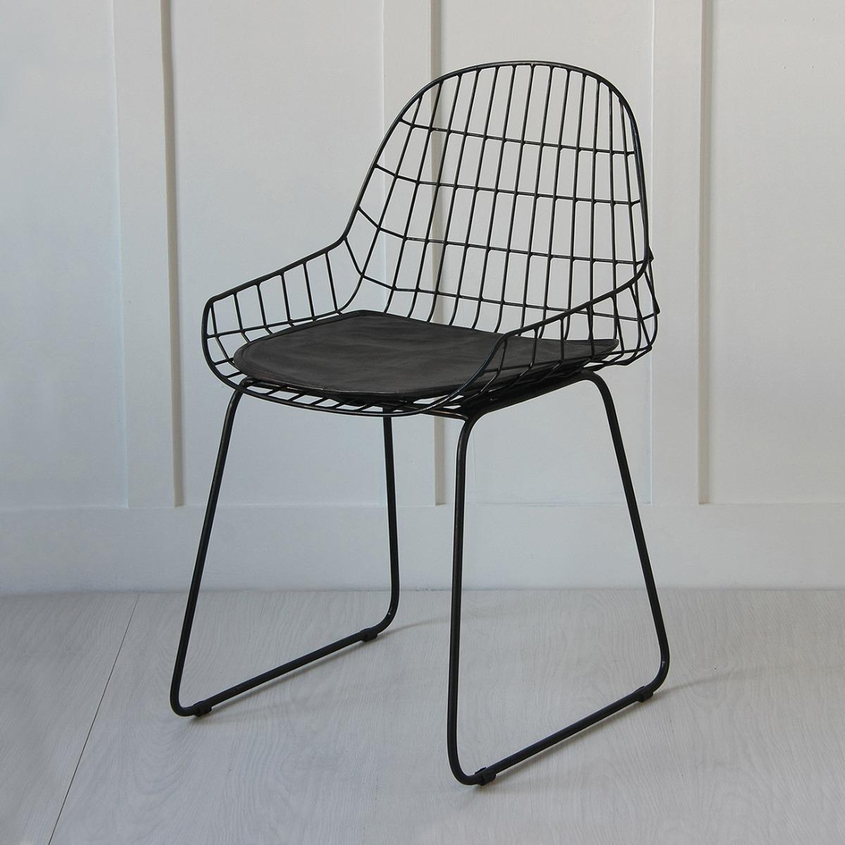 Black Wire Arm Chair, Black Seat Pad