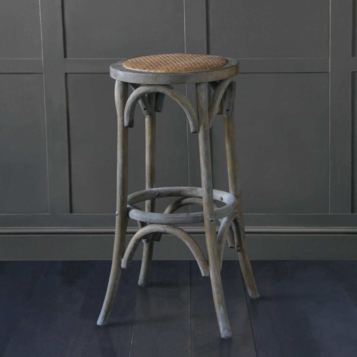 bentwood aged weathered Elm bar stool 76cm
