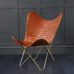 Butterfly Accent Chair, Genuine Leather, Tan/Gold, Ribbed
