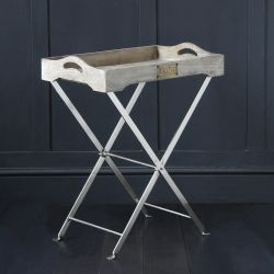 Provencal Folding Butlers Tray Table In Antique Finish On Nickel Base