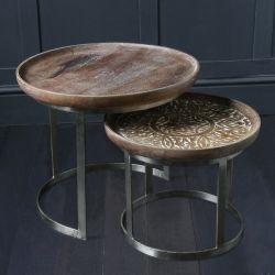 Round Nest of Tables with Carved Hard Wood Table Tops