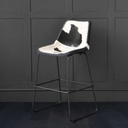 Deluxe Road House Bar Stool, Black & White Cow Hide, 67cm