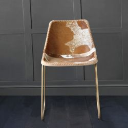 Deluxe Road House Dining Chair, Gold Base, Brown & White Cow Hide Seat