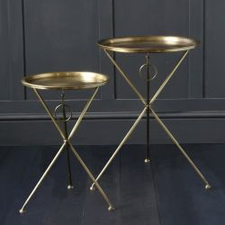 Folding Nest Of Tables In Brass With Engraved Tops