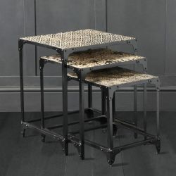 Industrial Nest of Tables with Decorative Tops