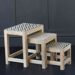 Nepal Nest of Tables with Patterned Top and Rustic Finish