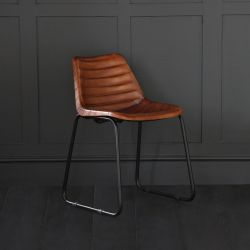 Road House Dining Chair, Brown, Ribbed Seat