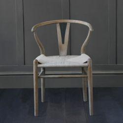 Hans Wegner Wishbone Chair, Aged Elm, Grey Coil Seat