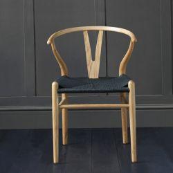 Hans Wegner Wishbone Chair, Natural Ash, Black Seat