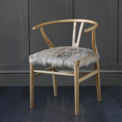 Hans Wegner Wishbone Chair, Aged Oak, Upholstered Fur Seat