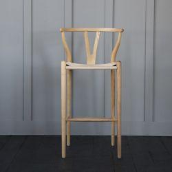 Hans Wagner  Style - Wishbone Bar Stool Natural /  Ash Natural Seat  76 cm