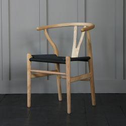 Hans Wegner Style Wishbone Chair  Natural Ash / Black Seat