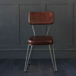 Tobacco Brown Leather Hairpin Chair