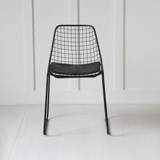 Black Wire Chair, Black Seat Pad
