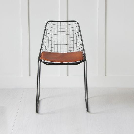 Black Wire Chair, Tan Seat Pad