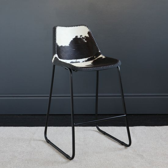 Road House Bar Stool with Black & White Cow Hide Seat, 67cm