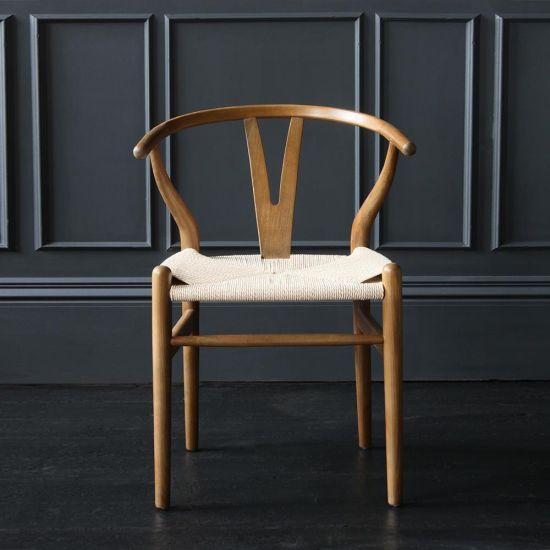 Wishbone Dining Chairs Hans Wegner Reproduction Dark Oak and Natural Seat
