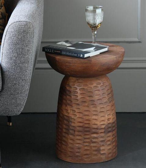 Siggy Side Table Pedestal Natural Mango Wood 46cm Hallway Bedroom Lounge Bohemian Scandi