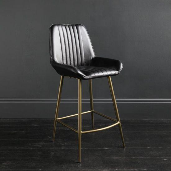 Brooklyn Bar Stool Leather Black Ribbed Seat & Brass Frame 66 cm