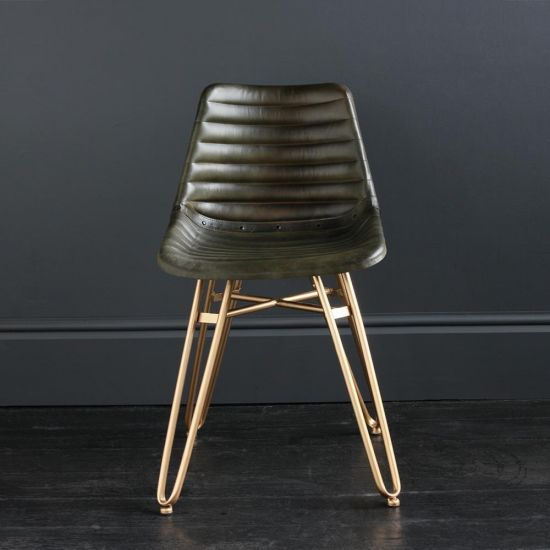 Gansevoort Dining Chair - Olive Green Ribbed - Gold Base
