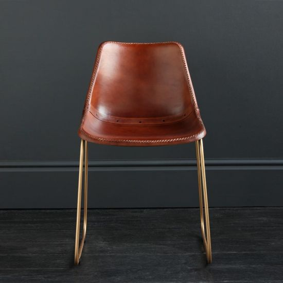 Deluxe RH Dining Chair - Brown Plain Seat - Gold Base