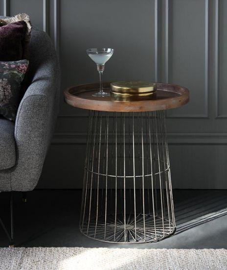 Lagatha Side Table Natural Mango Wood Top Grey Metal Base 58cm Lounge Bohemian Industrial