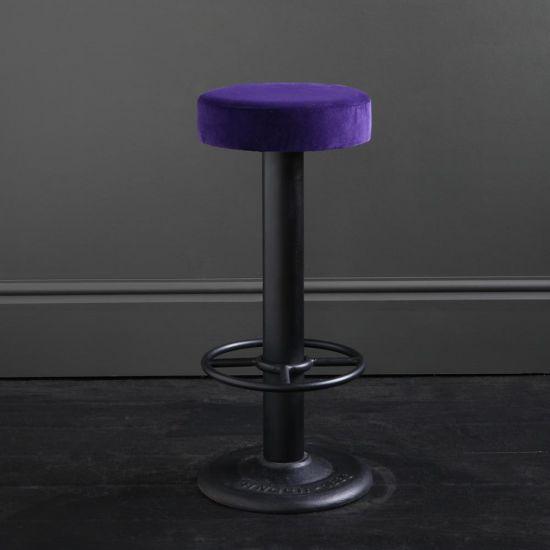 Pole Bar Stool - Royal Purple Velvet - Black Base - 70