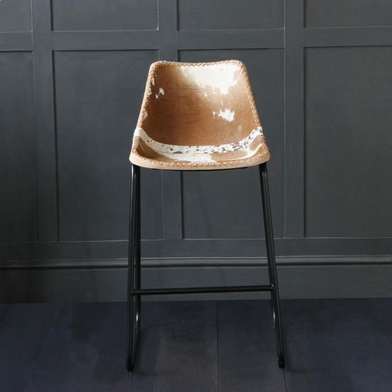 Road House Bar Stool with Brown & White Cow Hide Leather Seat 75cm