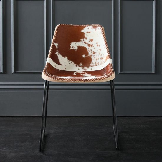 Deluxe Road House Dining Chair, Black Base Brown and White Cow Hide seat