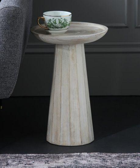 Ragner Side Table Natural Whitewash Acacia Wood 48cm Lounge Dining Room Bedroom Hallway Scandi