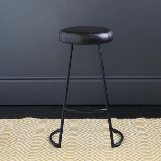 Tapas Industrial Bar Stool Black Leather Seat 67 Black Base