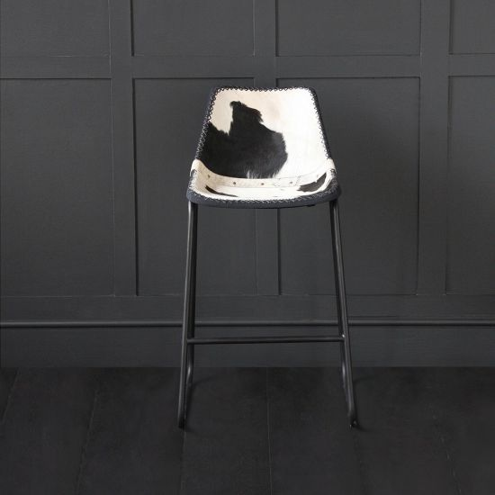 Road House Bar Stool with Black & White Cow Hide Leather Seat 75cm
