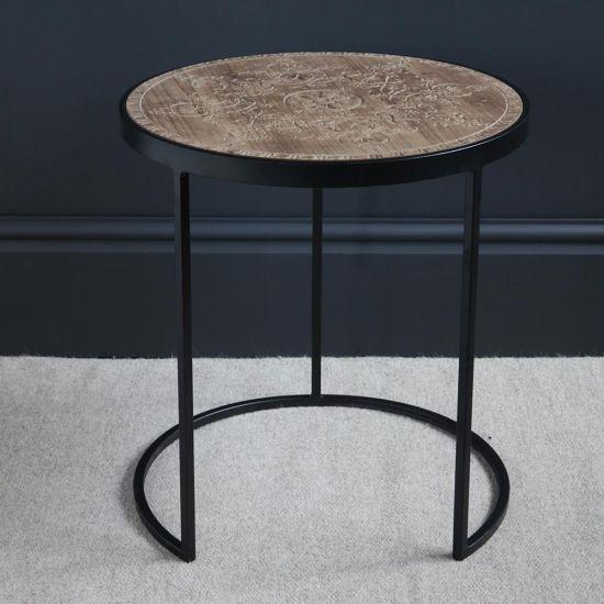 Felix Wood Top Black Iron Side Table