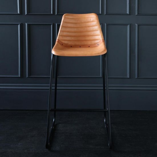 Road House Bar Stool with Camel Ribbed Leather Seat 75cm