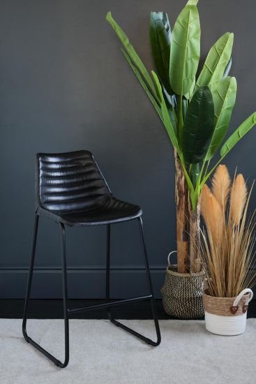 Road House Bar Stool Black Ribbed Seat Black Base 67 cm