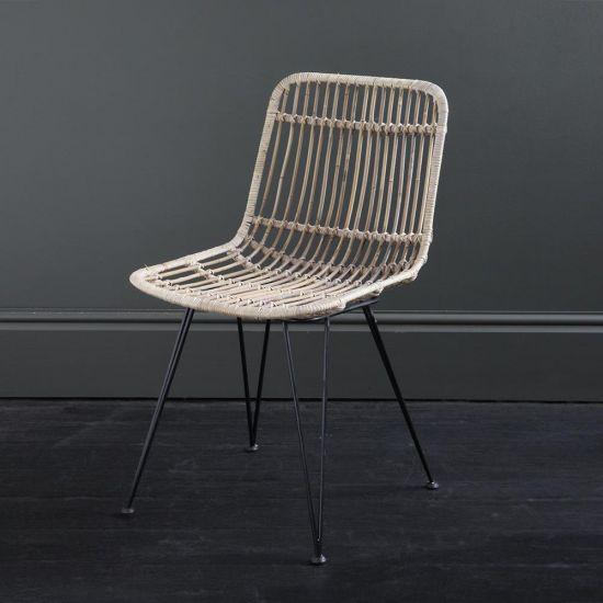 Rattan Dining Chair Natural Grey Open Weave Black Metal Legs