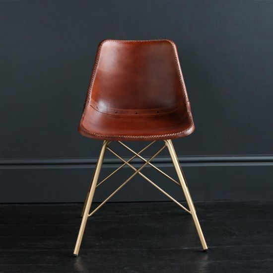 Gansevoort Chair Brown plain Leather Seat with Gold Cross Legs Base