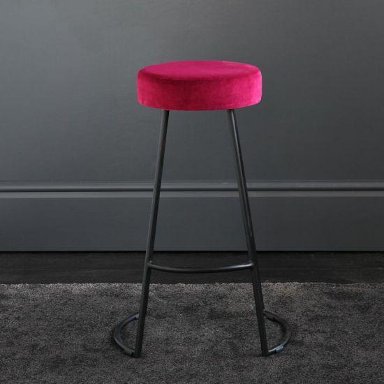 Tapas Velvet Cocktail Bar Stools - Tulip Red Velvet Seat - Black base - 67cm