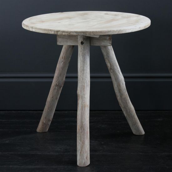 Frederik Rustic Wooden Tripod Table with Fir and Tan Oak