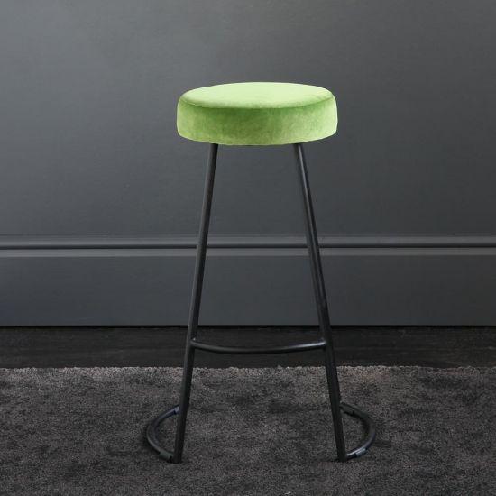 Tapas Velvet Cocktail Bar Stools - Green Grass Velvet Seat - Black base - 67cm