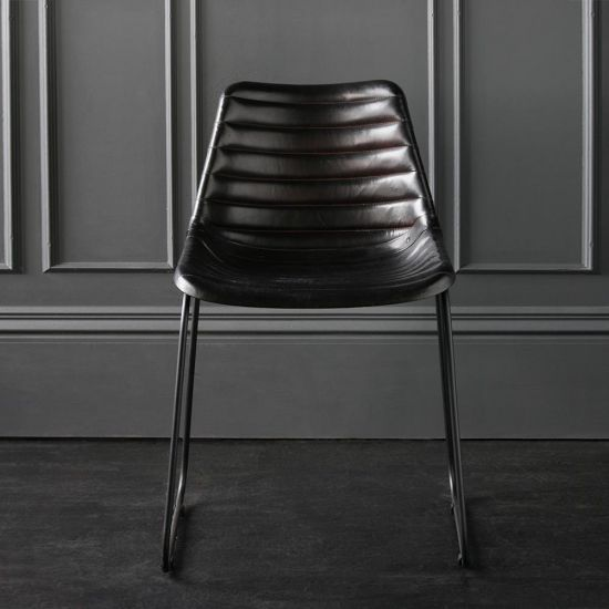 Deluxe Road House Dining Chair, Black Base with Black Ribbed seat