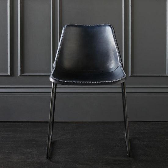Deluxe Road House Dining Chair, Black Base with Blue plain seat