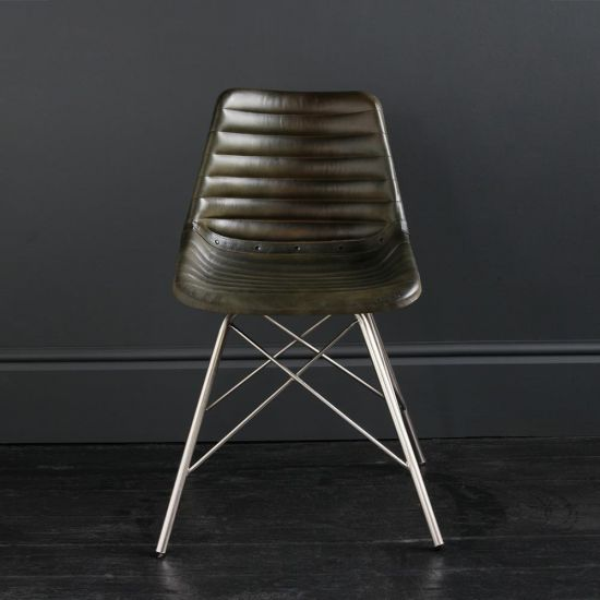 Gansevoort Chair Olive Green Ribbed Leather Seat with Nickel Cross Legs Base