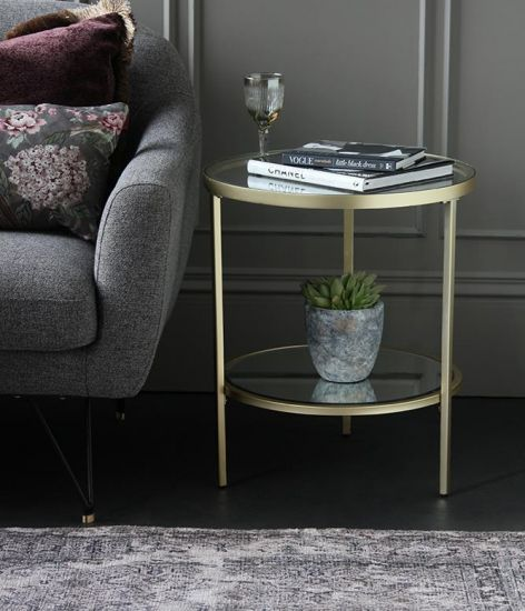 Tribeca Side Table Gold Iron Metal Frame Glass Surface 60 x 50 x 50cm Bar Art Deco