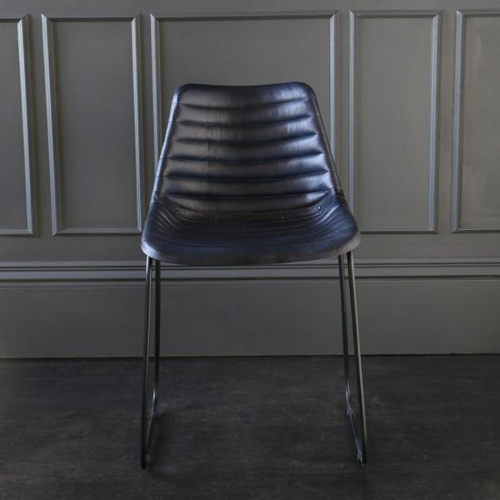 Deluxe Road House Dining Chair, Black Base with Blue Ribbed seat