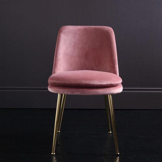 The Chelsea – Velvet Dining Chair – In Dusky Pink