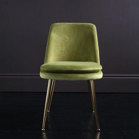 The Chelsea – Velvet Dining Chair – In Moss Green
