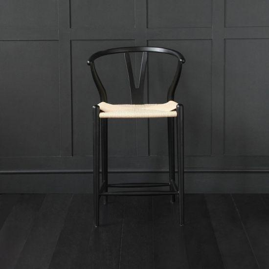Wishbone Bar Stool Hans Wegner Style Black Frame Ash Natural Seat Breakfast 66