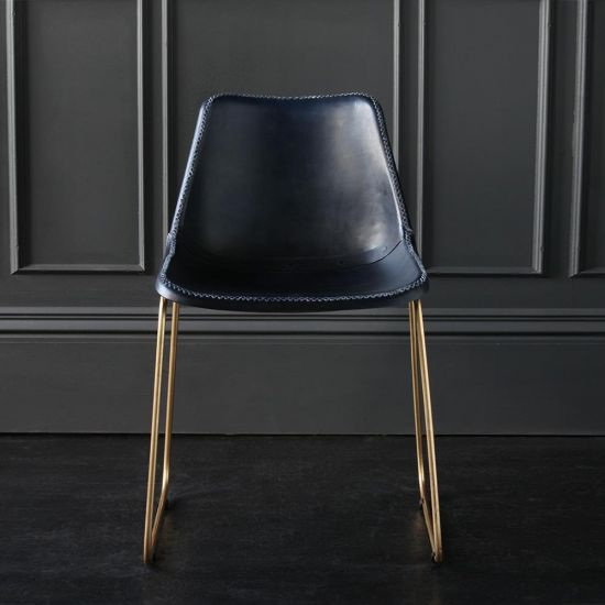 Deluxe Road House Dining Chair, Gold Base with Blue Plain seat
